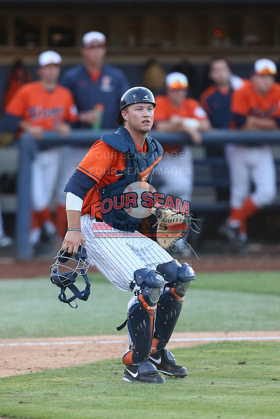 A.J. Kennedy (10) of the Cal State Fullerton Titans in the field during a game against the Cal Poly Mustangs at Goodwin Field on April 2, 2015 in Fullerton, California. Cal Poly defeated Cal State Fullerton, 5-0. (Larry Goren/Four Seam Images)
