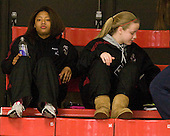 Blake Bolden (BC - 10), Megan Shea (BC - 23) - The Harvard University Crimson defeated the Boston College Eagles 5-0 in their Beanpot semi-final game on Tuesday, February 2, 2010 at the Bright Hockey Center in Cambridge, Massachusetts.