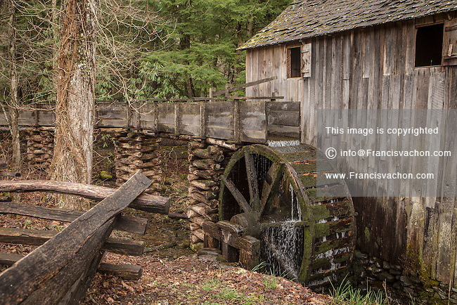 John Cable Grist Mill is pictured in Cades Cove area of the Great Smoky Mountains National Park in Tennessee Sunday March 23, 2014. Great Smoky Mountains National Park is a United States National Park and UNESCO World Heritage Site that straddles the ridgeline of the Great Smoky Mountains, part of the Blue Ridge Mountains, which are a division of the larger Appalachian Mountain chain.