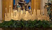 "The 2018 White House Christmas decorations, with the theme ""American Treasures"" which were personally selected by first lady Melania Trump, are previewed for the press in Washington, DC on Monday, November 26, 2018. This is a cityscape of New York, New York that is on display on the table in the center of the East Room.  <br /> Credit: Ron Sachs / CNP"