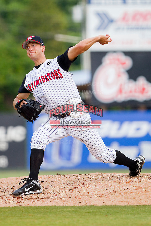 Starting pitcher Spencer Arroyo #20 of the Kannapolis Intimidators in action against the Lexington Legends at Fieldcrest Cannon Stadium on May 11, 2011 in Kannapolis, North Carolina.   Photo by Brian Westerholt / Four Seam Images