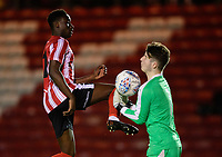 Lincoln City U18's Jordan Adebayo-Smith vies for possession with South Shieldsy U18's Jacob Bramley<br /> <br /> Photographer Chris Vaughan/CameraSport<br /> <br /> The FA Youth Cup Second Round - Lincoln City U18 v South Shields U18 - Tuesday 13th November 2018 - Sincil Bank - Lincoln<br />  <br /> World Copyright © 2018 CameraSport. All rights reserved. 43 Linden Ave. Countesthorpe. Leicester. England. LE8 5PG - Tel: +44 (0) 116 277 4147 - admin@camerasport.com - www.camerasport.com