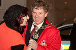Mayor Michael O'Dowd takes a turn around the dancefloor with Patricia Rooney, President of Drogheda Chamber of Commerce at the switching on of the Christmas lights on West Street, last Friday.