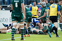 Will Vaughan of Bath Rugby scores his first try for the club. Aviva Premiership match, between Bath Rugby and London Irish on May 5, 2018 at the Recreation Ground in Bath, England. Photo by: Patrick Khachfe / Onside Images