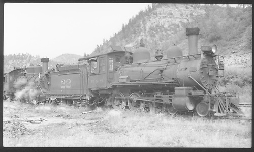 RGS #22 and #455 double-headed and waiting at Brown for a mudslide to be cleared.<br /> RGS  Brown, CO  7/12/1941