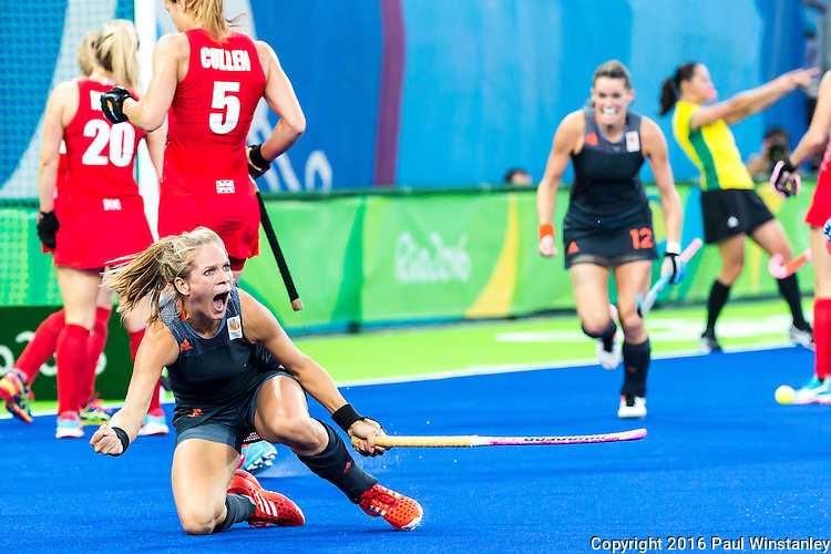 Kitty van Male #4 of Netherlands celebrates her goal during Netherlands vs Great Britain in the gold medal final at the Rio 2016 Olympics at the Olympic Hockey Centre in Rio de Janeiro, Brazil.