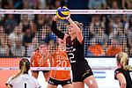 23.08.2018, Sporthalle Berg Fidel, Muenster<br />Volleyball, LŠnderspiel / Laenderspiel, Deutschland vs. Niederlande<br /><br />Zuspiel Pia KŠstner / Kaestner (#2 GER)<br /><br />  Foto &copy; nordphoto / Kurth
