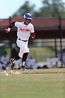 Juan Trinidad (2) of Carlos Beltran Baseball in Barceloneta, Puerto Rico during the Under Armour Baseball Factory National Showcase, Florida, presented by Baseball Factory on June 12, 2018 the Joe DiMaggio Sports Complex in Clearwater, Florida.  (Nathan Ray/Four Seam Images)