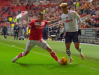 Preston North End's Callum Robinson (right) under pressure from Bristol City's Jack Hunt (left) <br /> <br /> Photographer David Horton/CameraSport<br /> <br /> The EFL Sky Bet Championship - Bristol City v Preston North End - Saturday 10th November 2018 - Ashton Gate Stadium - Bristol<br /> <br /> World Copyright &copy; 2018 CameraSport. All rights reserved. 43 Linden Ave. Countesthorpe. Leicester. England. LE8 5PG - Tel: +44 (0) 116 277 4147 - admin@camerasport.com - www.camerasport.com