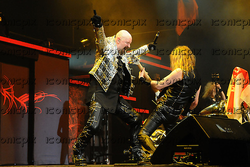 JUDAS PRIEST - vocalist Rob Halford and guitarist KK Downing - performing live on the Priest Feast Tour of the UK at Wembley Arena in London  UK- 21 Feb 2009.  Photo credit: George Chin/IconicPix