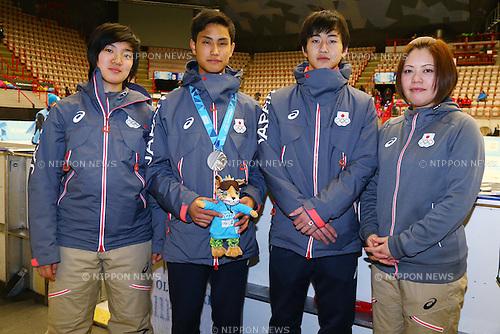 (L-R)<br /> Shione Kaminaga,<br /> Kazuki Yoshinaga,<br /> Kiichi Shigehiro,<br />  Wakana Miyajima (JPN),<br /> FEBRUARY 16, 2016 - Short Track : <br /> Men's 500m Medal Ceremony<br /> at Gjovik Olympic Cavern Hall<br /> during the Lillehammer 2016 Winter Youth Olympic Games <br /> in Lillehammer, Norway.<br /> (Photo by Shingo Ito/AFLO SPORT)