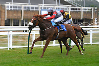 Winner of The Swallowcliffe Handicap (Div 1) Burguillos (red) ridden by Eoin Walsh and trained by Kuke McJannet  during Horse Racing at Salisbury Racecourse on 13th August 2020