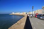 Coastline in Barrio de la Vina, city centre of Cadiz, Spain