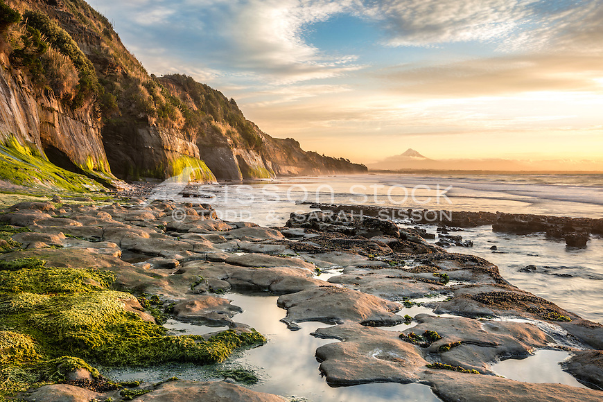 Sunset, Waiiti Beach, Taranaki, New Zealand - stock photo, canvas, fine art print
