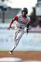 Lowell Spinners second baseman Raymel Flores (11) running the bases during a game against the Batavia Muckdogs on July 18, 2014 at Dwyer Stadium in Batavia, New York.  Lowell defeated Batavia 11-2.  (Mike Janes/Four Seam Images)