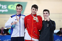 Charlie Tanfield of England with gold, John Archibald of Scotland with silver and Dylan Kennett of New Zealand with bronze in the Men's 4000m Individual Pursuit. Gold Coast 2018 Commonwealth Games, Track Cycling, Anna Meares Velodrome, Brisbane, Australia. 6 April 2018 © Copyright Photo: Anthony Au-Yeung / www.photosport.nz /SWpix.com