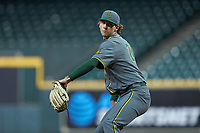Baylor Bears relief pitcher Jimmy Winston (24) in action against the Arkansas Razorbacks in game nine of the 2020 Shriners Hospitals for Children College Classic at Minute Maid Park on March 1, 2020 in Houston, Texas. The Bears defeated the Razorbacks 3-2. (Brian Westerholt/Four Seam Images)