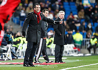 Real Madrid's Italian coach Carlo Ancelotti and Sevilla´s spanish coach Unai Emery