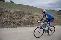 Bob Jungels (LUX/QuickStep Floors) trying to get back to the bunch after a crash (with blooded knee)<br /> <br /> 11th Strade Bianche 2017