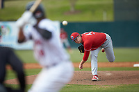 Lakewood BlueClaws starting pitcher Damon Jones (55) delivers a pitch to the plate against the Kannapolis Intimidators at Kannapolis Intimidators Stadium on April 8, 2018 in Kannapolis, North Carolina.  The Intimidators defeated the BlueClaws 4-3 in game two of a double-header.  (Brian Westerholt/Four Seam Images)
