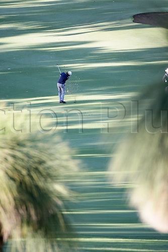 25.02.2016. Perth, Australia. ISPS HANDA Perth International Golf. Mathew Goggin (AUS) hits his second shot for the tournament at the first hole on day 1.