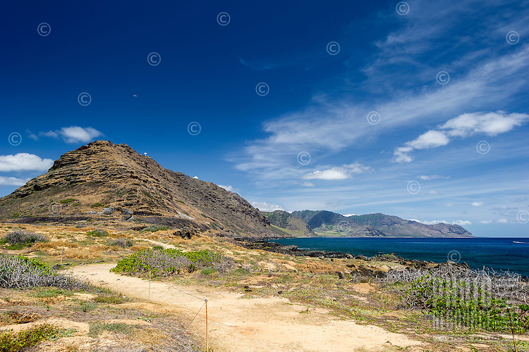 A view of Ka'ena Point and the Waianae mountain range, West O'ahu.