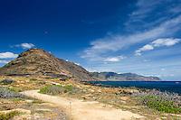 A view of Ka'ena Point and the Waianae mountain range, West O'ahu.