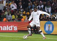 Second-half substitute Edson Buddle lays a ball back into the box from the endline. The United States won Group C of the 2010 FIFA World Cup in dramatic fashion, 1-0, over Algeria in Pretoria's Loftus Versfeld Stadium, Wednesday, June 23rd..