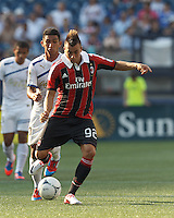 AC Milan forward Stephan El Shaarawy (92) passes the ball. In an international friendly, AC Milan defeated C.D. Olimpia, 3-1, at Gillette Stadium on August 4, 2012.