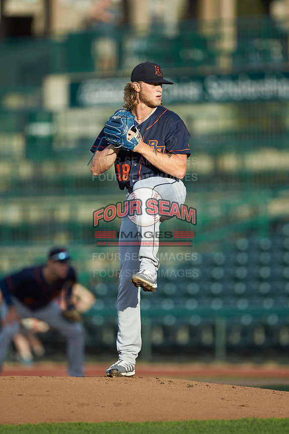 Bowling Green Hot Rods starting pitcher Shane Baz (18) in action against the Fort Wayne TinCaps at Parkview Field on August 20, 2019 in Fort Wayne, Indiana. The Hot Rods defeated the TinCaps 6-5. (Brian Westerholt/Four Seam Images)