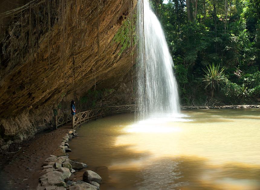 Walk way under Prenn Falls Dalat Vietnam