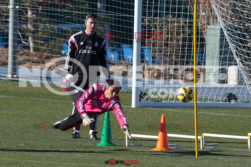 Keylor Navas during a sesion training at Real Madrid City in Madrid. January 23, 2015. (ALTERPHOTOS/Caro Marin) /NortePhoto<br />