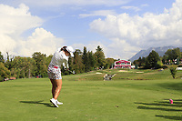 Jin Young Ko (KOR) tees off the par3 5th tee during Thursday's Round 1 of The Evian Championship 2018, held at the Evian Resort Golf Club, Evian-les-Bains, France. 13th September 2018.<br /> Picture: Eoin Clarke | Golffile<br /> <br /> <br /> All photos usage must carry mandatory copyright credit (&copy; Golffile | Eoin Clarke)