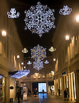 Christmas lights decorations, Southgate shopping centre, Bath, England