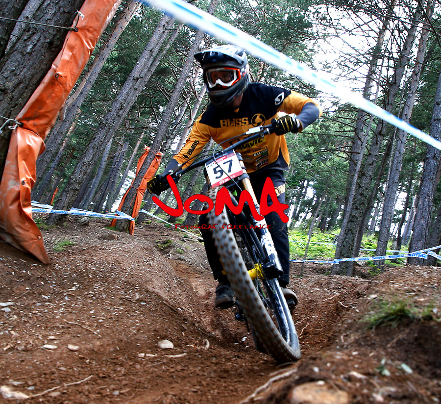 Thibault Laly (FRA)Downhill training sesion, UCI, Moutain Bike World Cup , Vallnord Andorra. 12/07/2018