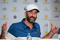 Geoff Ogilvy (AUS) speaks during round 1 player selection for  the 2017 President's Cup, Liberty National Golf Club, Jersey City, New Jersey, USA. 9/27/2017.<br /> Picture: Golffile | Ken Murray<br /> <br /> <br /> All photo usage must carry mandatory copyright credit (© Golffile | Ken Murray)