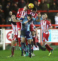 Max Müller of Wycombe Wanderers is outnumbered <br /> <br /> during the Sky Bet League 2 match between Accrington Stanley and Wycombe Wanderers at the wham stadium, Accrington, England on 28 February 2017. Photo by Tony  KIPAX.