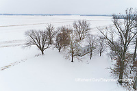 63895-16813 Pleasant Grove Methodist Church in snow-winter-aerial-Marion Co. IL