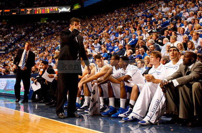 UK head coach John Calipari throws his hand to his head after a bad callin the first half of UK's game against ETSU at Rupp Arena on  Friday Nov. 12 , 2010. Photo by Britney McIntosh | Staff