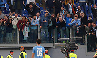 Calcio, Serie A: Roma vs Lazio. Roma, stadio Olimpico, 8 novembre 2015.<br /> Lazio's Marco Parolo faces his fans at the end of the Italian Serie A football match between Roma and Lazio at Rome's Olympic stadium, 8 November 2015. Roma won 2-0.<br /> UPDATE IMAGES PRESS/Riccardo De Luca