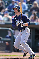 New Orleans Zephyrs Cole Gillespie (28) swings during the game against the Iowa Cubs at Principal Park on April 14, 2016 in Des Moines, Iowa.  The Cubs won 4-2 .  (Dennis Hubbard/Four Seam Images)