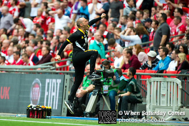 Norwich City 2 Middlesbrough 0, 25/05/2015. Wembley Stadium, Championship Play Off Final. Alex Neil celebrates the opening goal from Cameron Jerome in the 12th minute. A match worth £120m to the victors. On the day Norwich City secured an instant return to the Premier League with victory over Middlesbrough in front of 85,656. Photo by Simon Gill.
