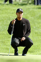 THOMASTOWN, IRELAND. Tiger Woods of the USA in deep concentration during the American Express Championship at the Mount Juliet Golf Club on September 29, 2004 in Thomastown, Ireland . 30 SEPTEMBER 2004.Photo AFP/NEWSFILE/FRAN CAFFREY..(Photo credit should read FRAN CAFFREY/NEWSFILE/AFP)...This Picture has been sent you under the condtions enclosed by:.Newsfile Ltd..the Studio,.Millmount Abbey,.Drogheda,.Co Meath..Ireland..Tel: +353(0)41-9871240.Fax: +353(0)41-9871260.GSM: +353(0)86-2500958.email: pictures@newsfile.ie.www.newsfile.ie.FTP: 193.120.102.198..This picture is from Fran Caffrey@newsfile.ie
