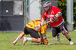 Los Angeles, CA 02/15/14 - Ross Ewing (USC #17) and Jake Berkelbach (Utah #39) in action during the Utah versus USC game as part of the 2014 Pac-12 Shootout at UCLA.  Utah defeated USC 10-9.