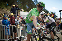 Mark Cavendish (GBR/DimensionData) fist-bumps Peter Sagan (SVK/Tinkoff) after the finish line, happy to have made it up in a similar time.<br /> <br /> stage 12: Montpellier - Mont Ventoux (shortened stage due to wind until Chalet Reynard; 178km)<br /> 103rd Tour de France 2016