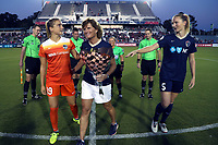 Cary, North Carolina  - Saturday September 09, 2017: Kristie Mewis, Melissa Mewis, and Samantha Mewis prior to a regular season National Women's Soccer League (NWSL) match between the North Carolina Courage and the Houston Dash at Sahlen's Stadium at WakeMed Soccer Park. The Courage won the game 1-0.