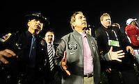 Jan 7, 2010; Pasadena, CA, USA; Alabama Crimson Tide head coach Nick Saban walks off the field after defeating the Texas Longhorns 37-21 in the 2010 BCS national championship game at the Rose Bowl. Mandatory Credit: Mark J. Rebilas-