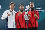 (L-R) Tomoyuki Matsuda (JPN), SAURABH<br /> Chaudhary (IND), Abhishek Verma (IND), <br /> AUGUST 21, 2018 - Shooting : <br /> Men's 10m Air Pistol FInal<br /> at Jakabaring Sport Center Shooting Range <br /> during the 2018 Jakarta Palembang Asian Games <br /> in Palembang, Indonesia. <br /> (Photo by Yohei Osada/AFLO SPORT)