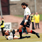 St Johnstone v Rangers 20.9.97:  Marco Negri knocks the ball past Alan Mainas the keeper decides to pull down the Rangers striker for a penalty
