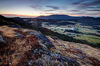 Dawn over the Crow Valley viewed from Ship Peak on Turtleback Mountain, Orcas Island, Washington, USA